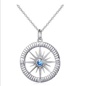 Sterling Silver Compass Necklace No Matter Where